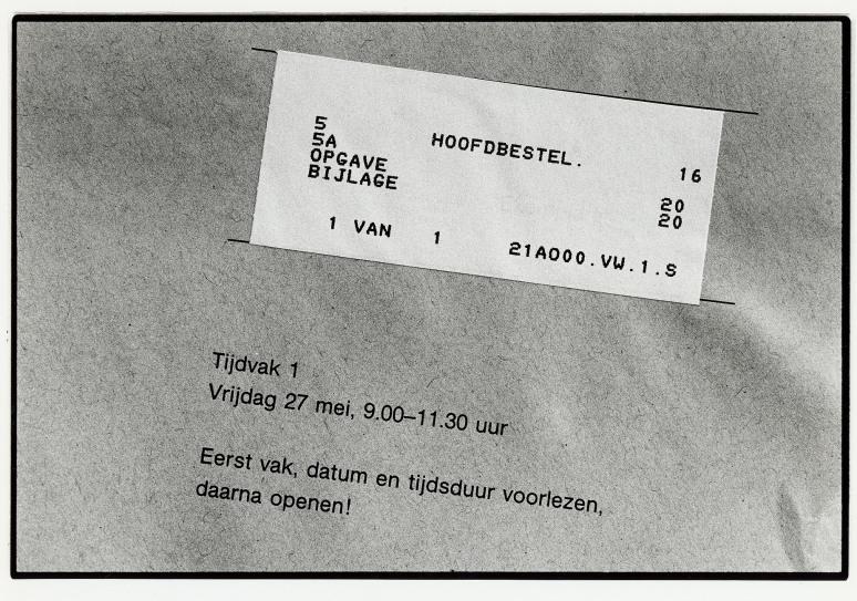 • Berlage Scholengemeenschap Amsterdam, vrijdag 27 mei 1990